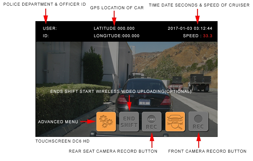 Touchscreen Police in-car Camera system